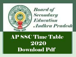 AP SSC Time table 2020 Download Pdf, AP 10th Class Exam Time table 2020, AP SSC Exam Time table 2020