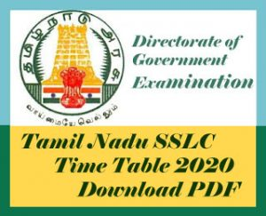 Tamil Nadu SSLC Time table 2020, Download PDF TN 10th Time