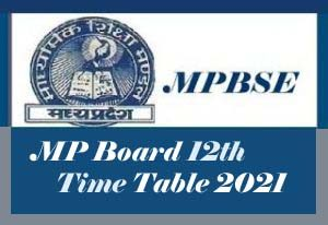 MP Board 12th Time table 2021 Download, MP Board Time table 2021 Class 12
