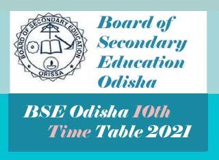 Odisha HSC Time table 2021 Pdf, BSE Odisha 10th Time table ...