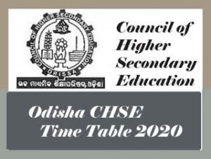 CHSE Odisha Time table 2020 Download, Odisha +2 Time table 2020, Odisha CHSE Time table 2020