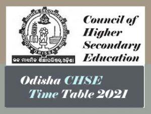 CHSE Odisha Time table 2021 Pdf, Odisha +2 Time table 2021