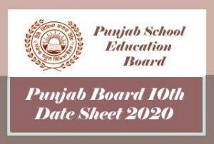 PSEB 10th Date Sheet 2020 Download, Punjab Board 10th Class Date Sheet 2020 Pdf, PSEB Date Sheet 2020